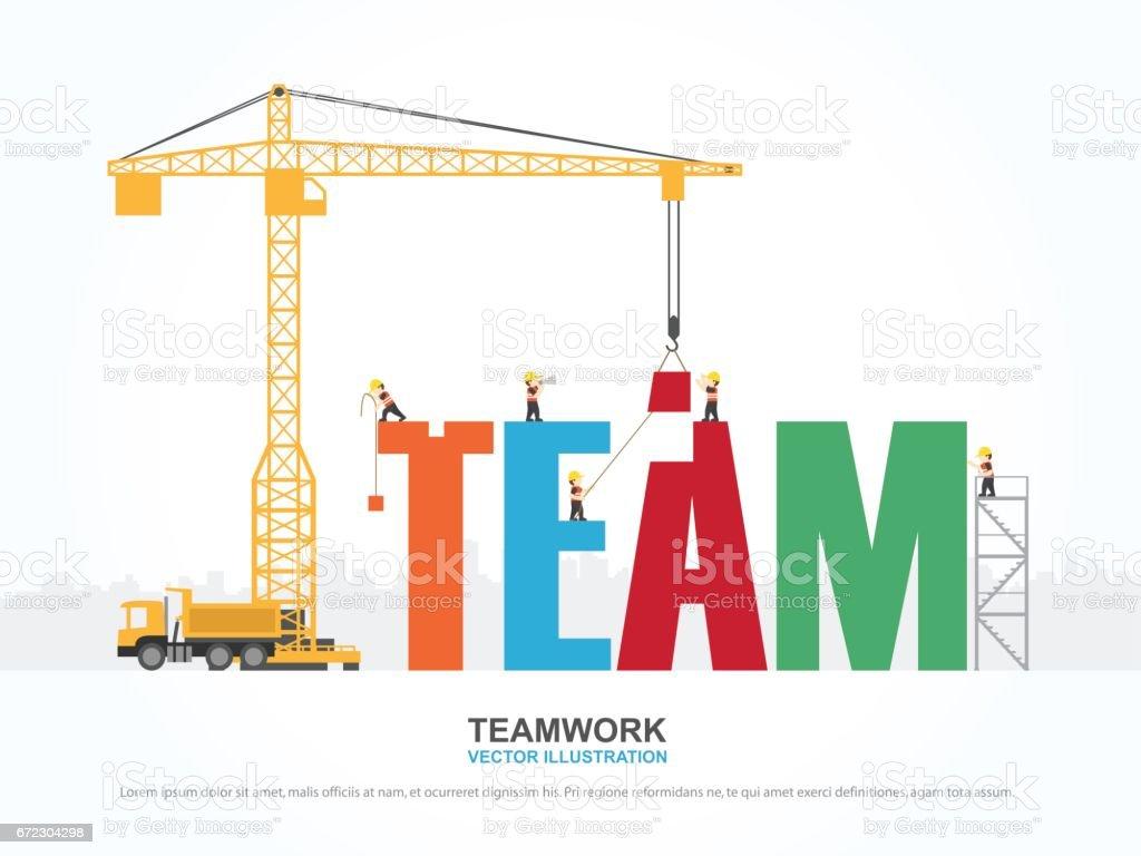 Guindaste e construção de equipes. Infográfico de modelo. Ilustração em vetor. - ilustração de arte em vetor