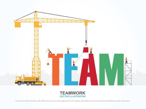 ilustrações, clipart, desenhos animados e ícones de guindaste e construção de equipes. infográfico de modelo. ilustração em vetor. - infográficos de site
