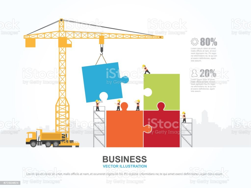 Crane And Team Building Infographic Template Vector Illustration ...
