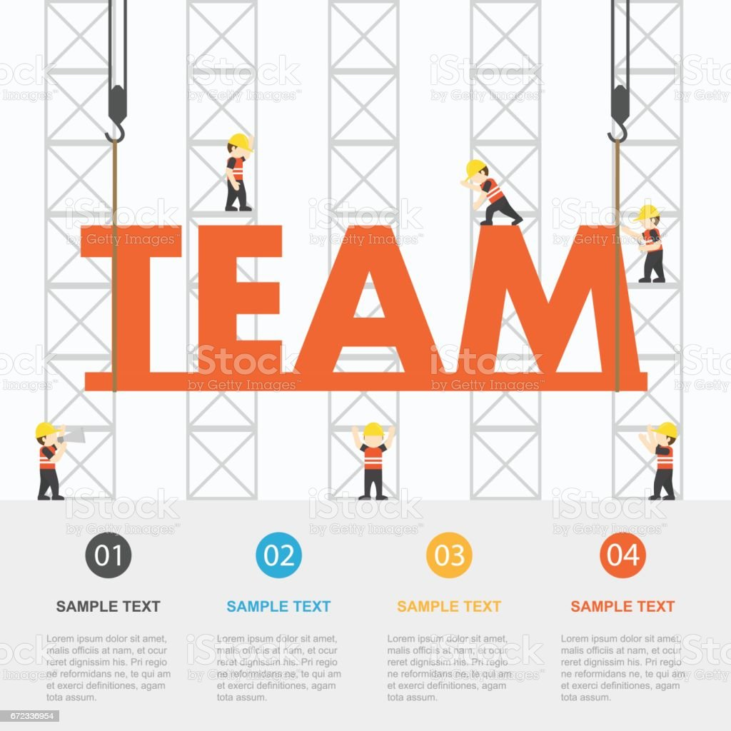 Crane And Team Building Infographic Template Vector Illustration