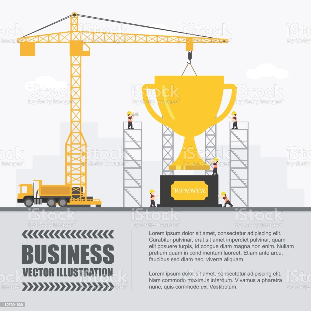 crane and trophy building infographic template vector illustration