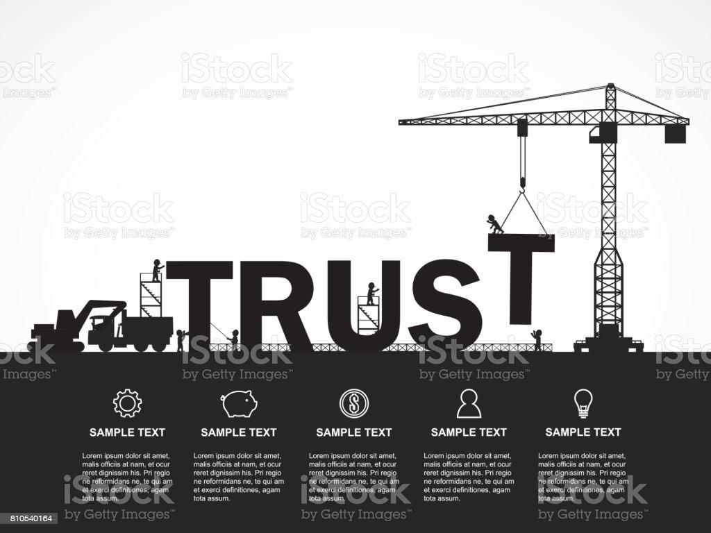 Guindaste e construção de confiança. Infográfico de modelo. Ilustração em vetor. - ilustração de arte em vetor
