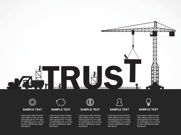 kran und vertrauensaufbau. infografik-vorlage. vektor-illustration. - konzept infografiken stock-grafiken, -clipart, -cartoons und -symbole