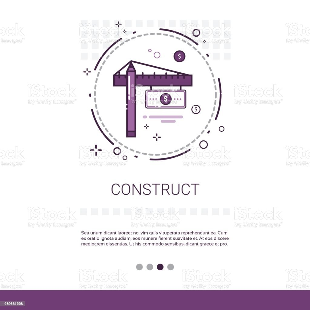 Crane Building Construction Engineering Web Banner With Copy Space