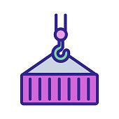 Crane construction icon vector. Thin line sign. Isolated contour symbol illustration
