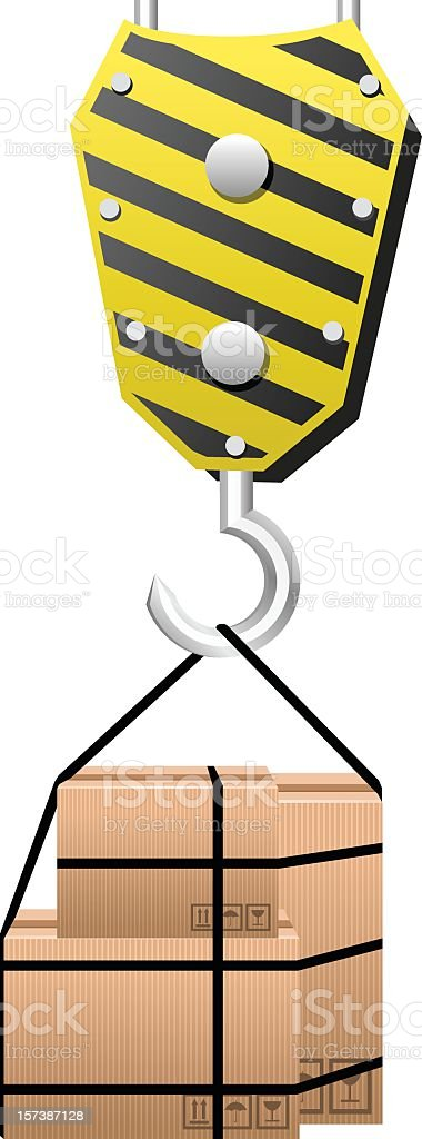Crane holding Boxes royalty-free stock vector art