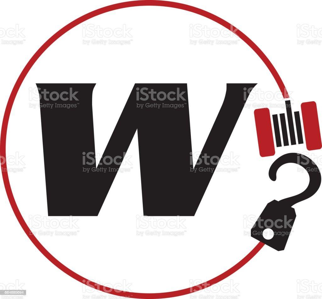 Crane Hook Towing Letter W crane hook towing letter w - immagini vettoriali stock e altre immagini di affari royalty-free