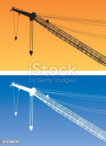 Vector illustration of crane on sky backgrounds.