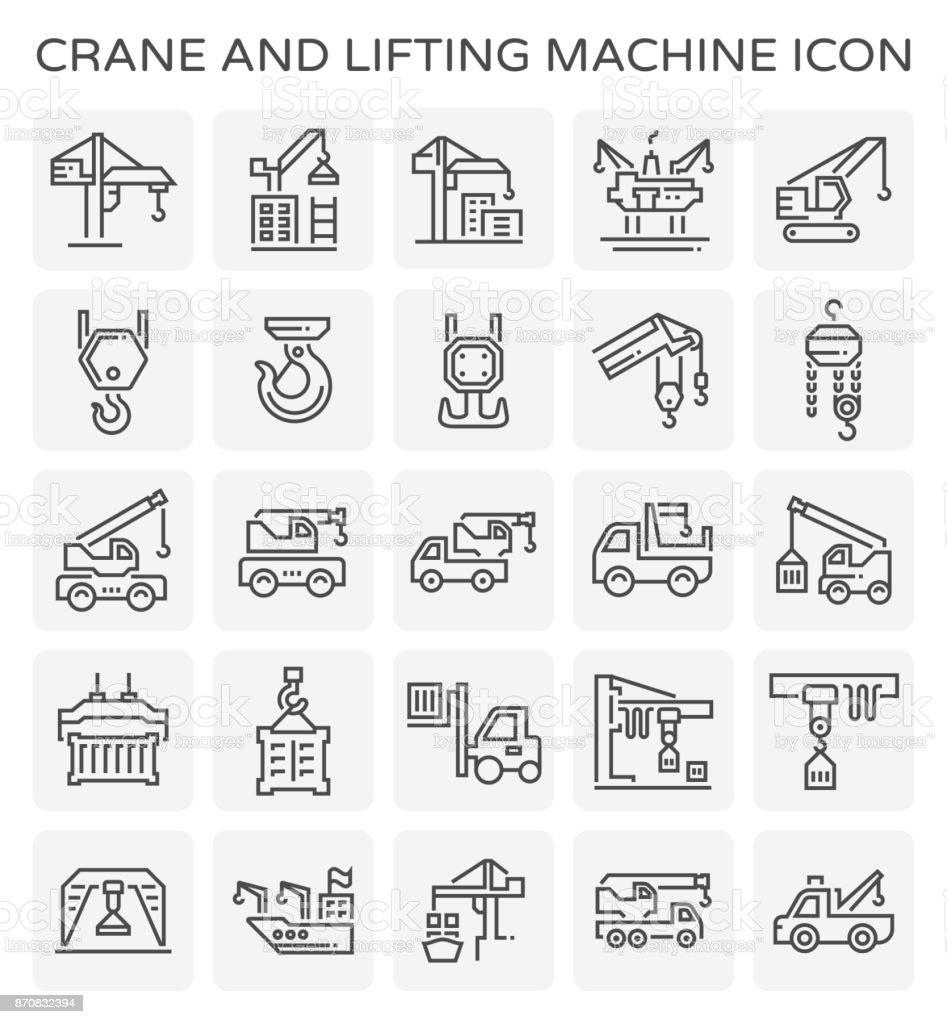 crane lift icon vector art illustration