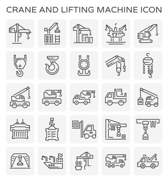 crane lift icon Crane and lifting machine vector icon set. hooikoorts stock illustrations