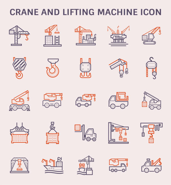 crane lifting icon Crane and lifting machine icon set, color and outline. hooikoorts stock illustrations