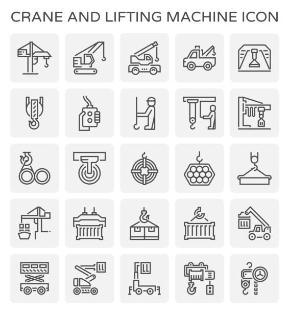 crane lifting icon crane lifting icon hooikoorts stock illustrations