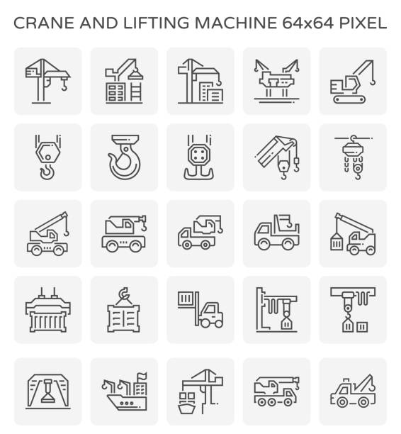 crane lifting machinne icon Crane and lifting machine icon set, 64x64 pixel perfect and editable stroke. hooikoorts stock illustrations