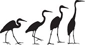 Vector illustration of four crane silhouettes.