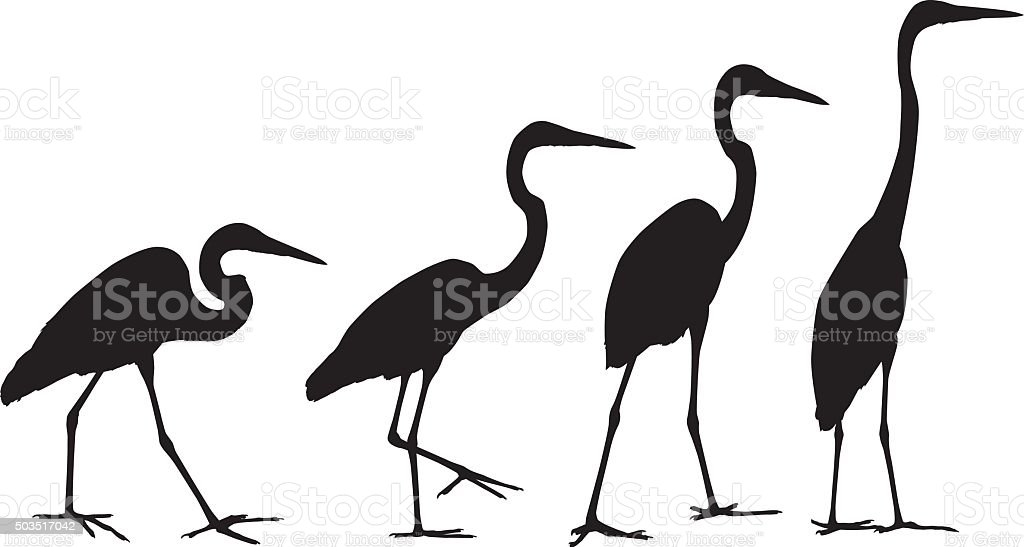 Crane Silhouettes vector art illustration