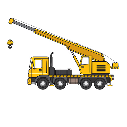 Crane truck cartoon construction site vehicle equipment machine. For coloring page, children book.