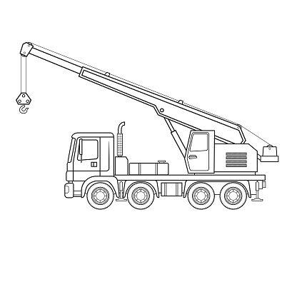 Crane truck cartoon construction site vehicle equipment machine. Only black and white for coloring page, children book.