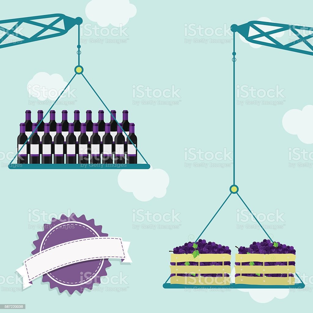 Crane with grapes and wine vector art illustration