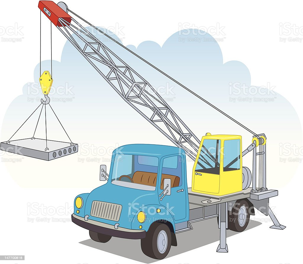 crane with load royalty-free stock vector art
