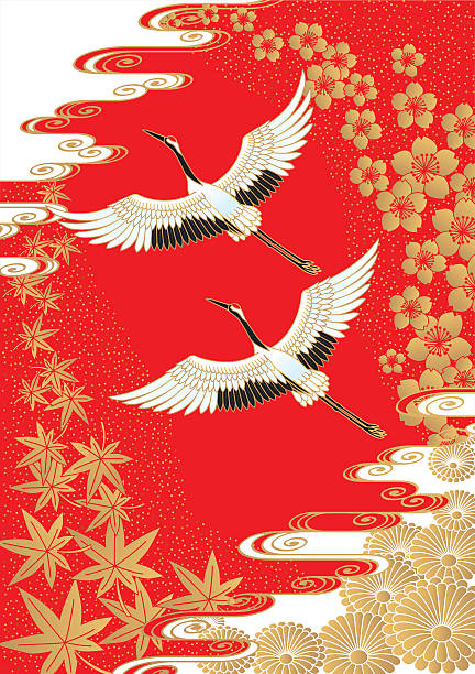cranes and cherry and maple. japanese style. - crane bird stock illustrations