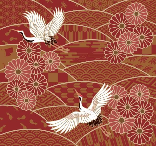 krane und chrysanthemen japanische traditionelle wellenmuster - kranich stock-grafiken, -clipart, -cartoons und -symbole