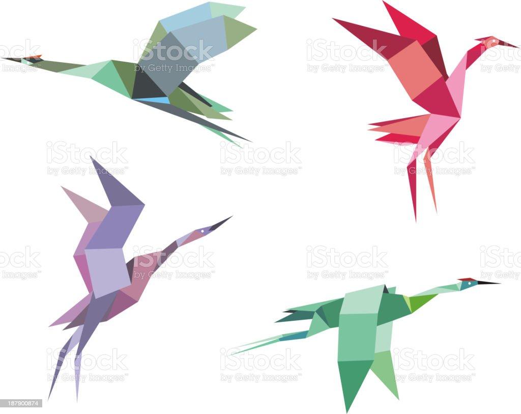 Gru e aironi - illustrazione arte vettoriale
