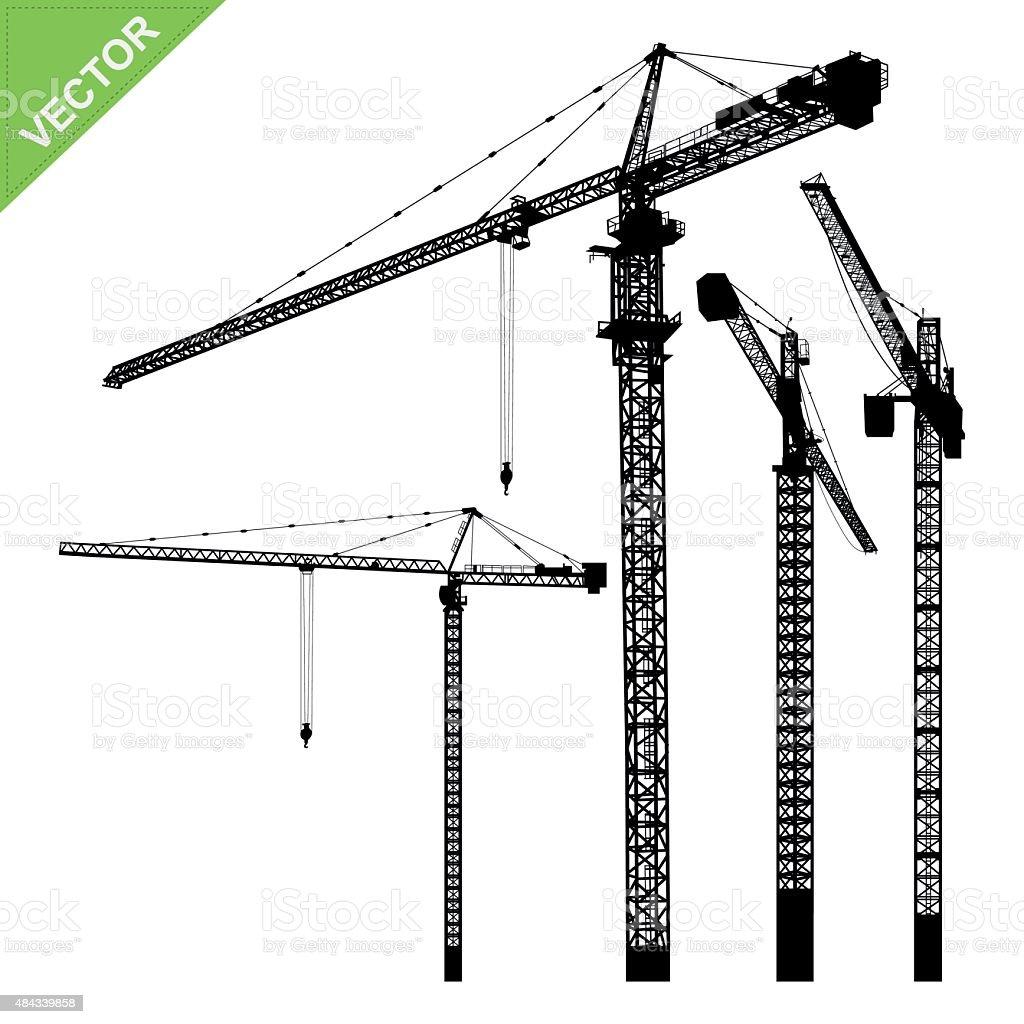Cranes silhouettes vector vector art illustration