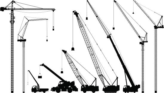 Nine highly detailed cranes.