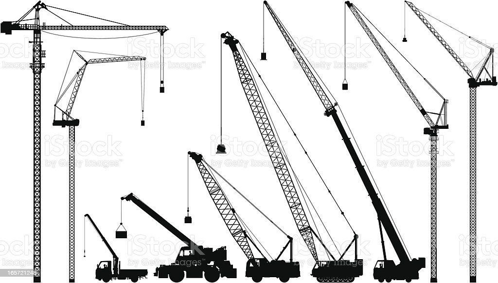 Cranes vector art illustration