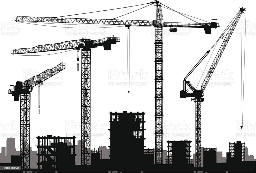 Cranes royalty-free cranes stock vector art & more images of built structure