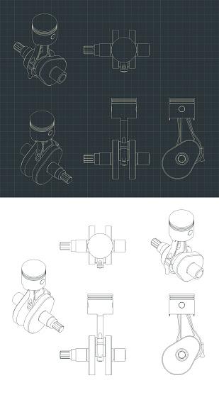 Crank mechanism and piston drawings