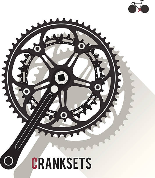 Cranksets Road Bike Cranksets Graphic  bicycle chain stock illustrations