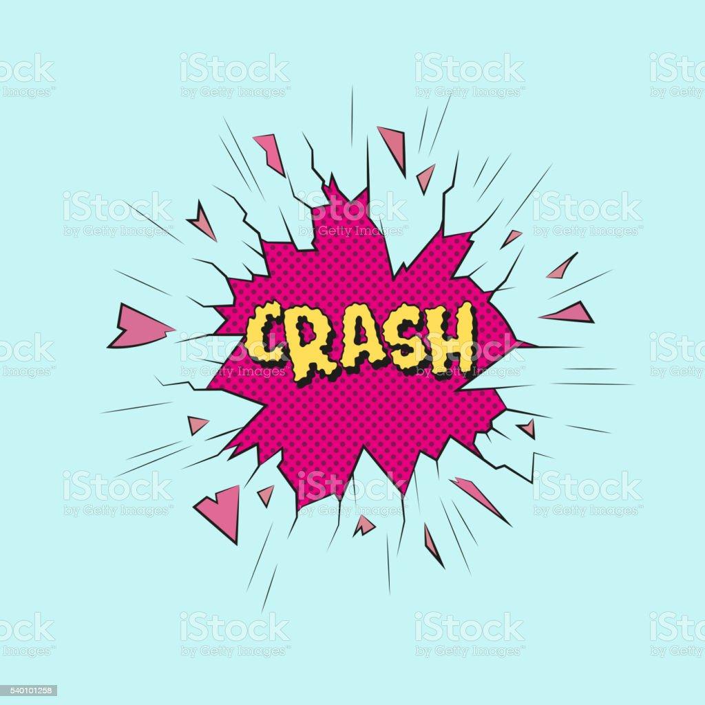 Crash. Broken glass sticker design. Hand drawn vector illustration vector art illustration
