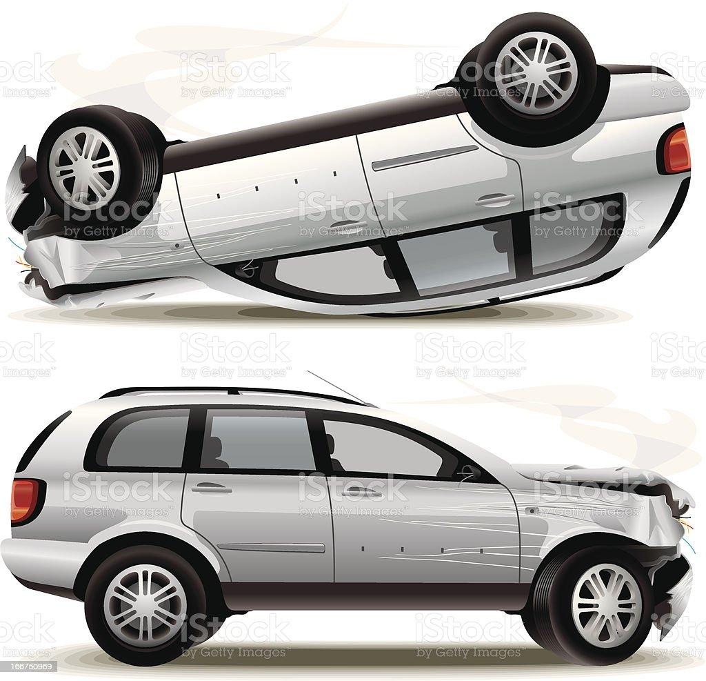 Crash car vector art illustration