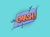 Crash comic text in pop art technicolor style vector illustration