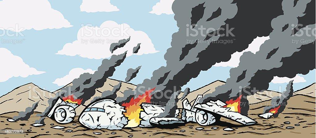 Crashed Airplane vector art illustration