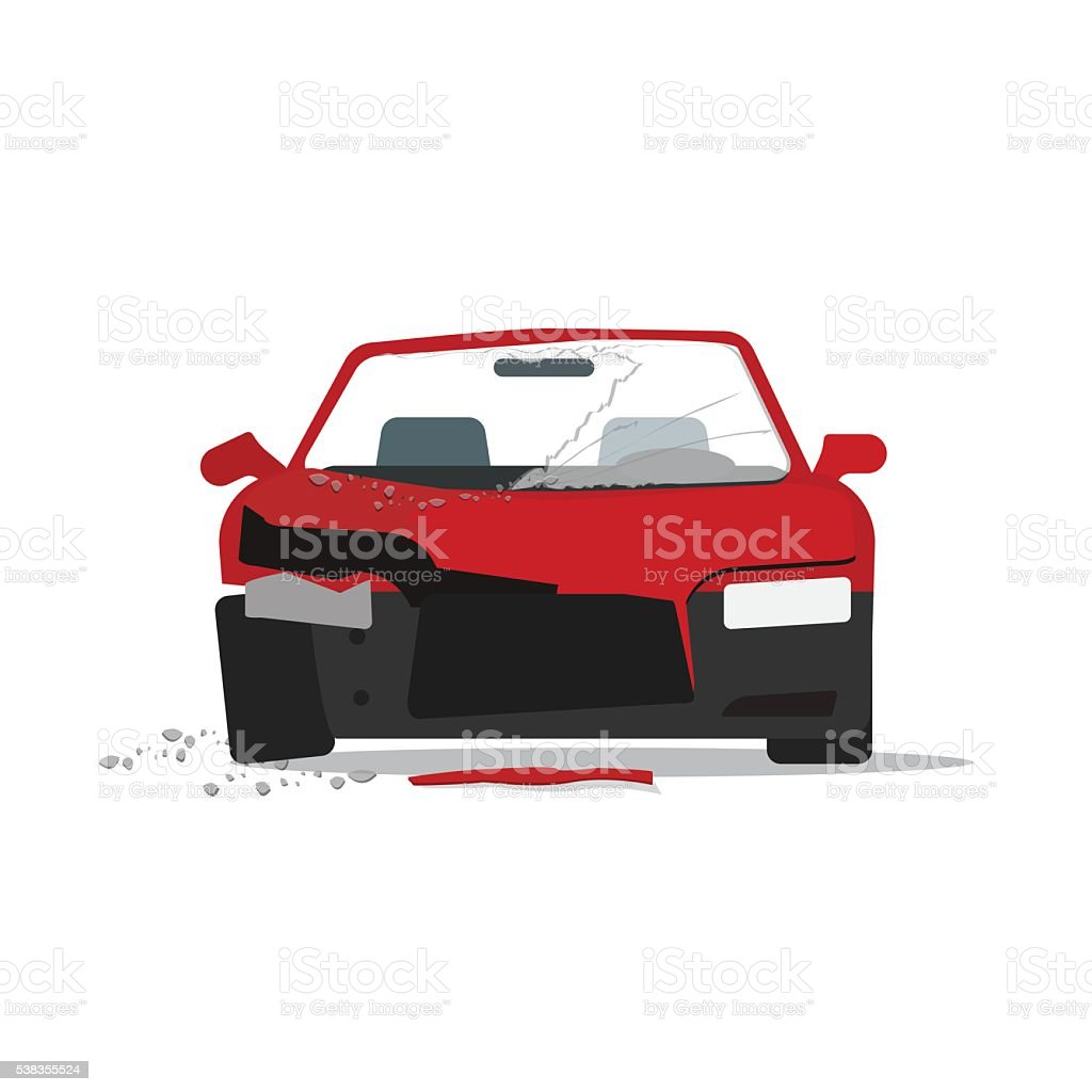Crashed car auto accident isolated on white background vector art illustration