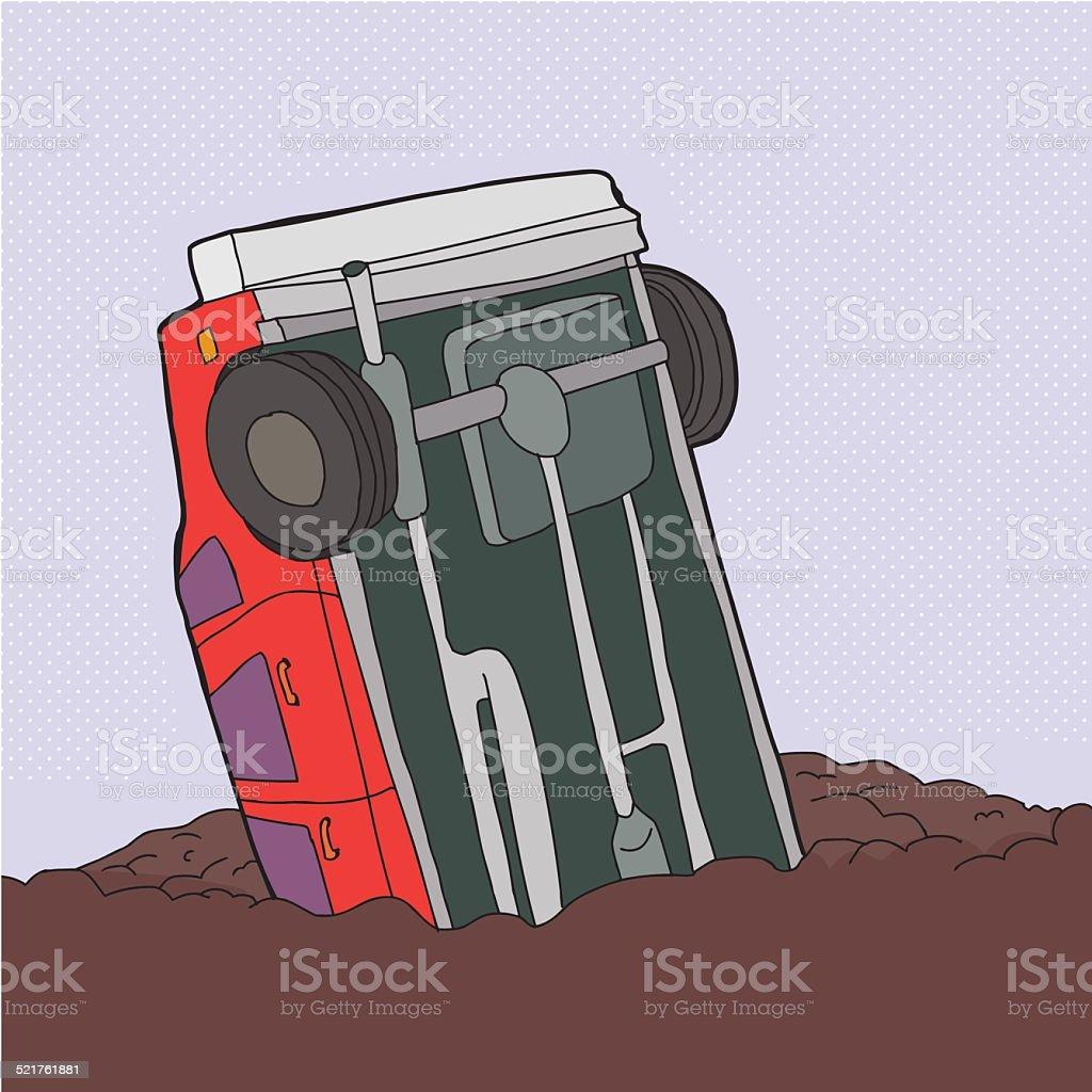 Crashed Red Car vector art illustration