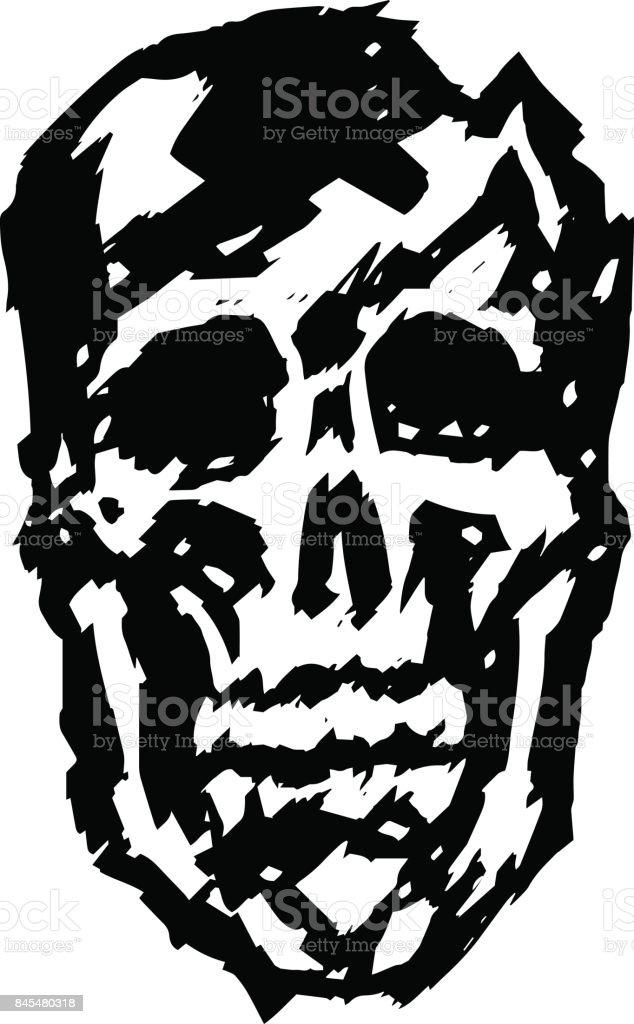Crashed skull. Vector illustration. vector art illustration