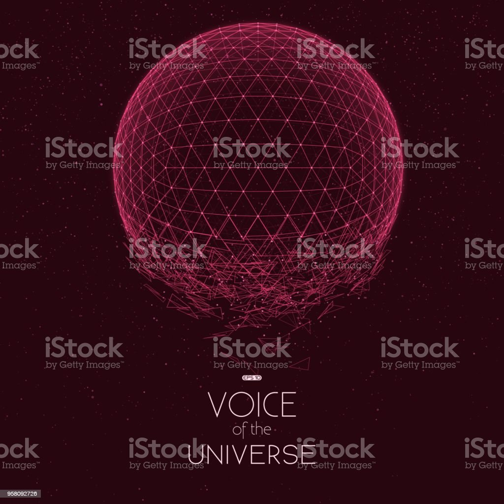634c04ea6da Crashing red space sphere. Abstract vector background with tiny stars. Glow  of sun from the bottom. Abstract space geometry. Sparkles of alien stars on  the ...