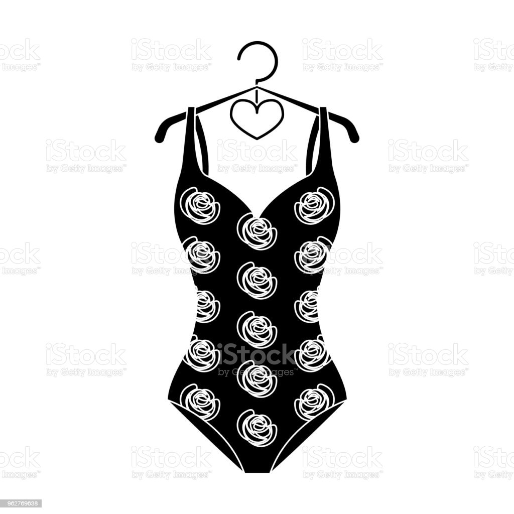 e37d2e3774e Crashing red swimsuit with a print of roses. Beach wear.Swimcuits single  icon in black style vector symbol stock web illustration. - Illustration .