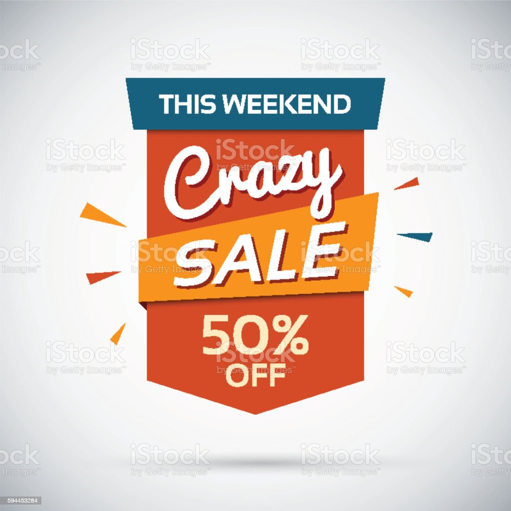 Crasy sale. This weekend. 50 percent off. vector art illustration