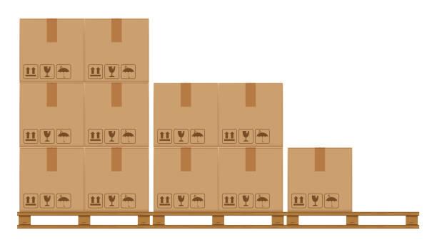 stockillustraties, clipart, cartoons en iconen met krat dozen op beboste pallet, houten pallet met kartonnen doos in fabriek magazijnopslag, platte stijl magazijn kartonnen perceel dozen stack, verpakking lading, 3d dozen bruin geïsoleerd op wit - pallet
