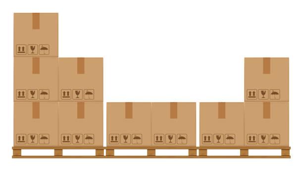 stockillustraties, clipart, cartoons en iconen met krat dozen op houten pallet, houten pallet met kartonnen doos in de fabriek magazijnopslag, platte stijl magazijn kartonnen pakket dozen stack, verpakking lading, 3d dozen bruin geïsoleerd op wit - pallet