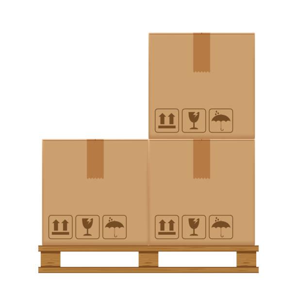 stockillustraties, clipart, cartoons en iconen met krat vakken drie op beboste pallet, houten pallet met kartonnen doos in de fabriek magazijnopslag, platte stijl magazijn kartonnen pakje dozen stack, verpakking lading, 3d dozen bruin geïsoleerd op wit - pallet