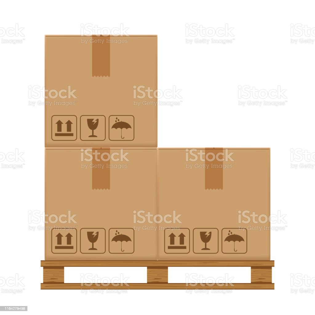 crate boxes three on wooden pallet, wood pallet with cardboard box in...
