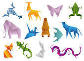 Crawfish, antelope, butterfly, frog, elephant, dove, bear, fish, bull, fox, lizard, hare, dragon. Animals origami set japanese folded modern wildlife hobby symbol vector illustration
