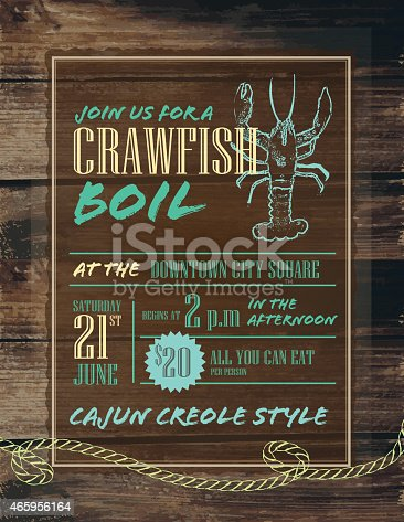 Vector illustration of a Crawfish boil invitation design template. Features rustic rope, very rough crawfish outline, sample layout text and wooden background. Perfect for your party invitation or poster sign. Easy layers for customization. See my portfolio for similar files and color options.