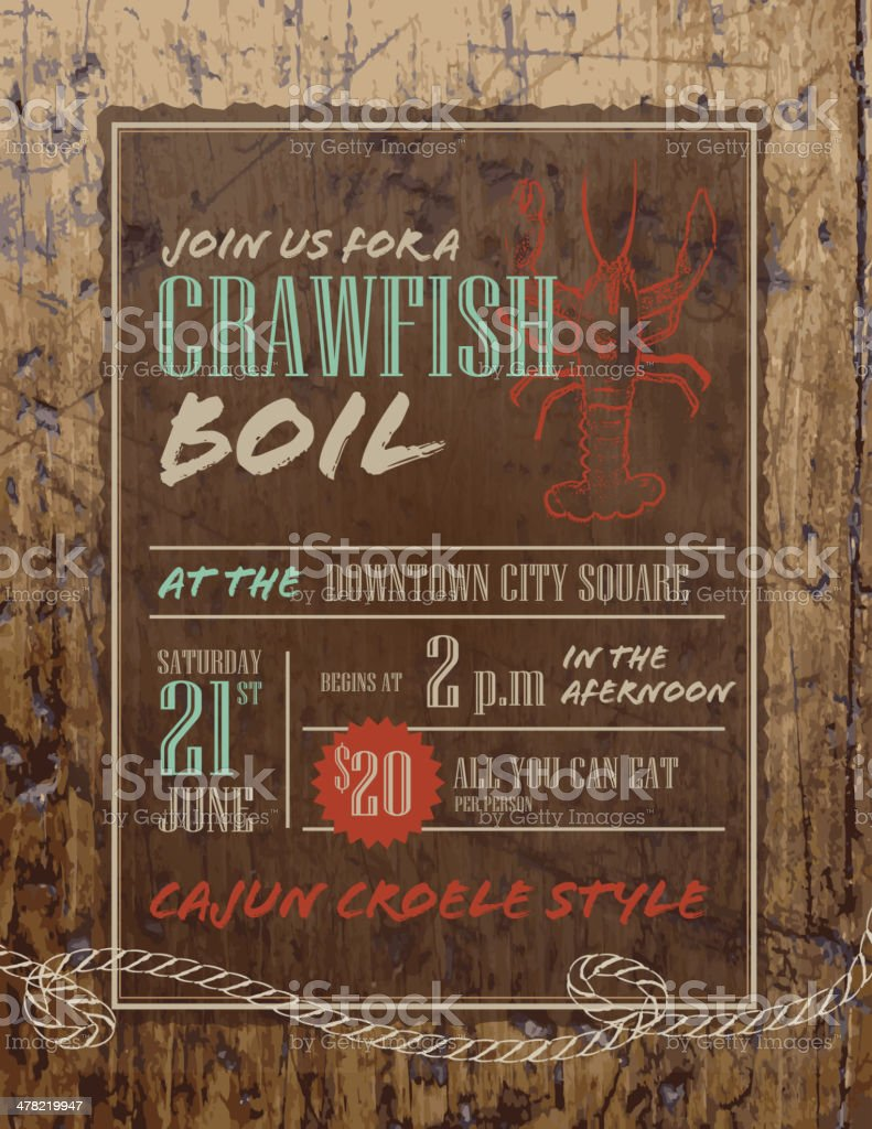 Crawfish Boil invitation design template on rustic wooden background vector art illustration