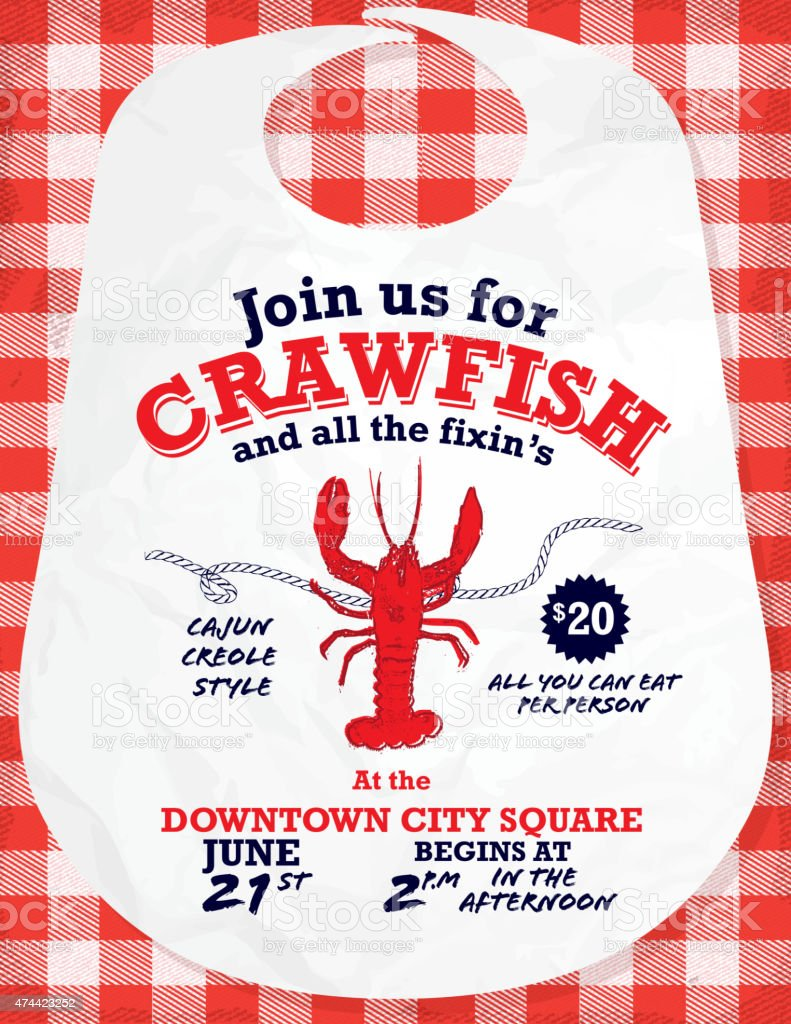 Crawfish Boil invitation design template red and white tablecloth background vector art illustration